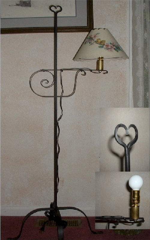 black wrought iron floor lamp heart usa made ebay. Black Bedroom Furniture Sets. Home Design Ideas