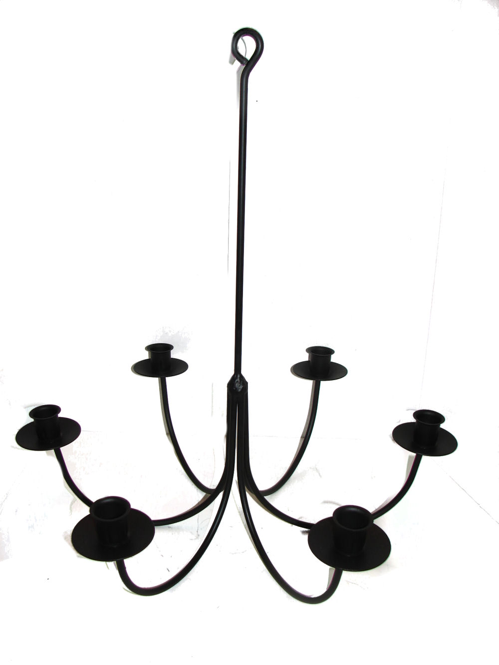 Wrought iron chandeliers and hanging candle holders candoliers this hand wrought 6 arm non electric candolier is right at home over any farm table with classic style and functional design this candle holder will blend mozeypictures Gallery