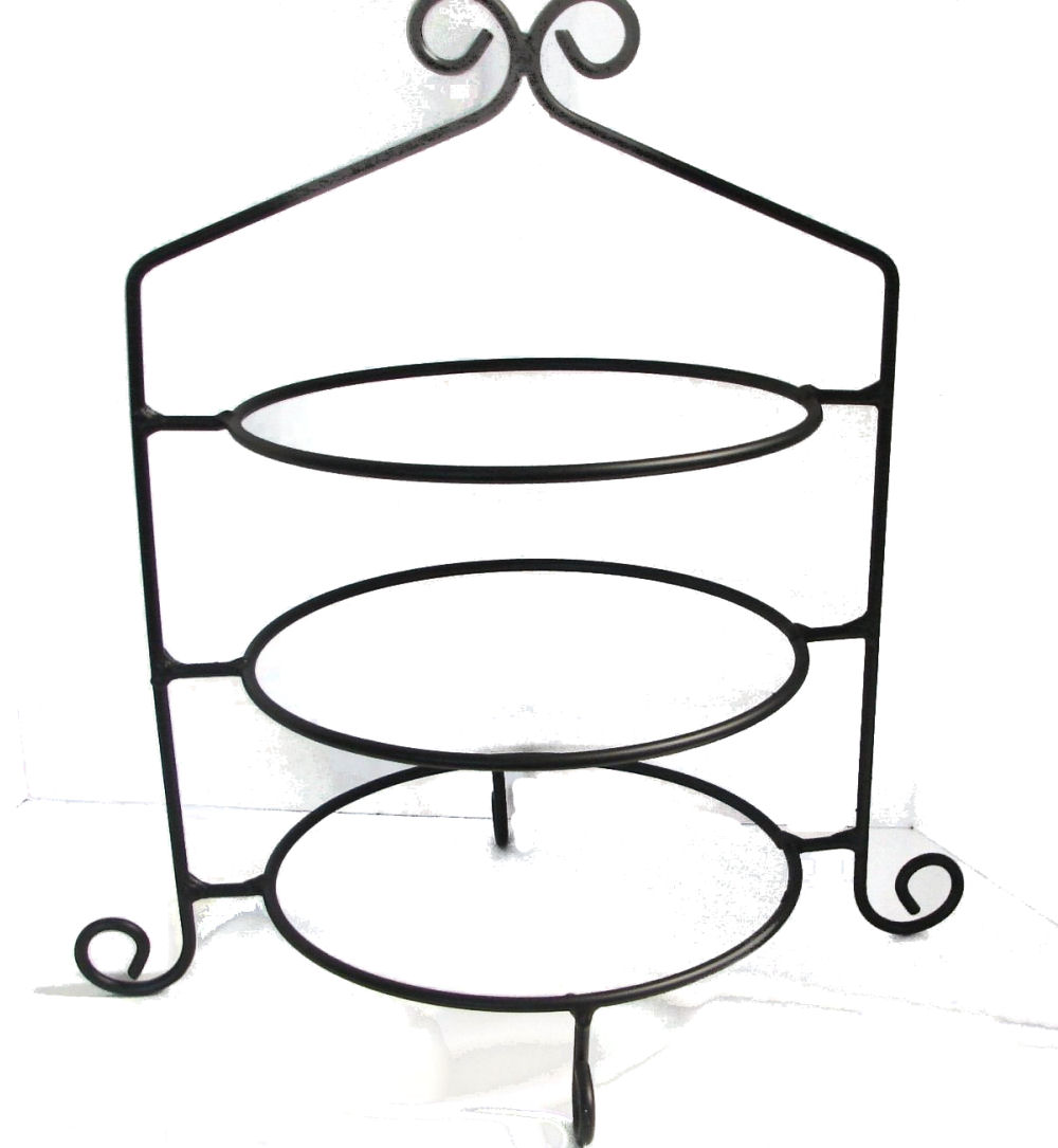 Wrought Iron Pie Plate Stand/Rack Holds 10-12 inch Plates Triple Tier
